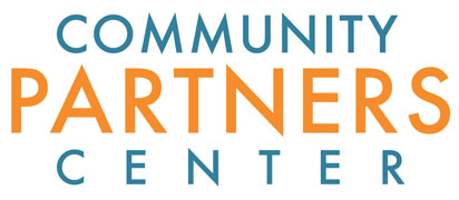 Logo with Community Partners Center written in blue and orange.