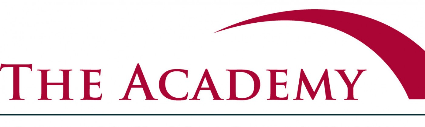 "Red logo reading, ""The Academy"" with a red arch graphic"