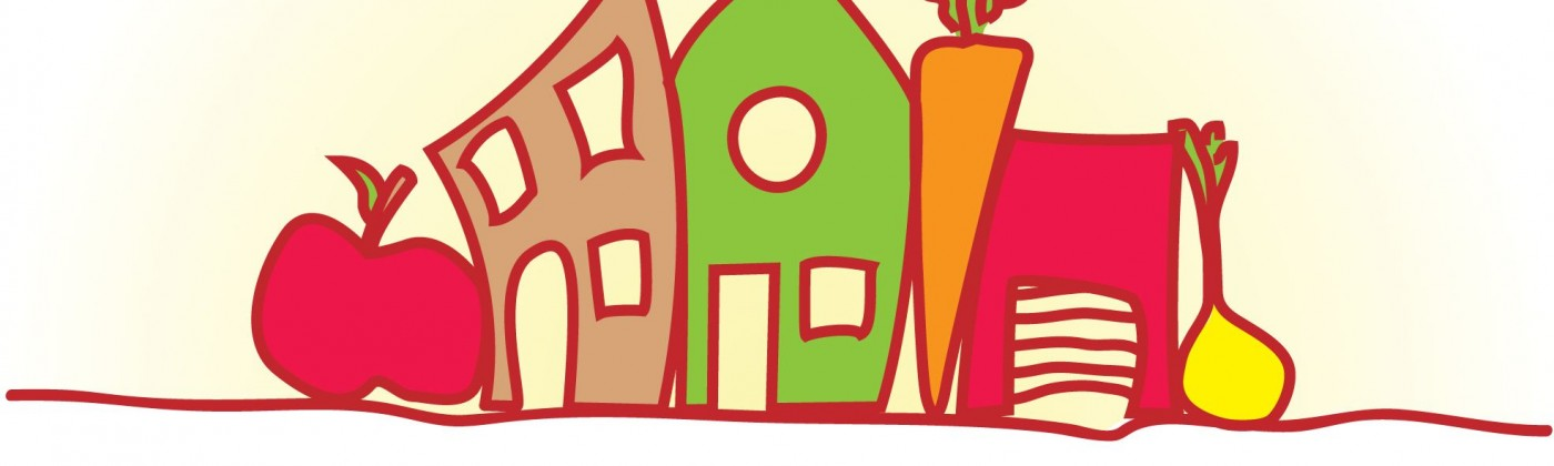 Colorful logo of cartoon houses surrounded by produce with the name Nutrition Coalition