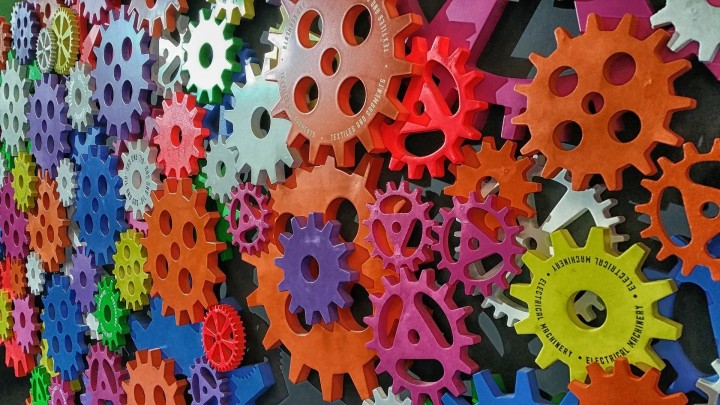 Lots of gears in various bright colors