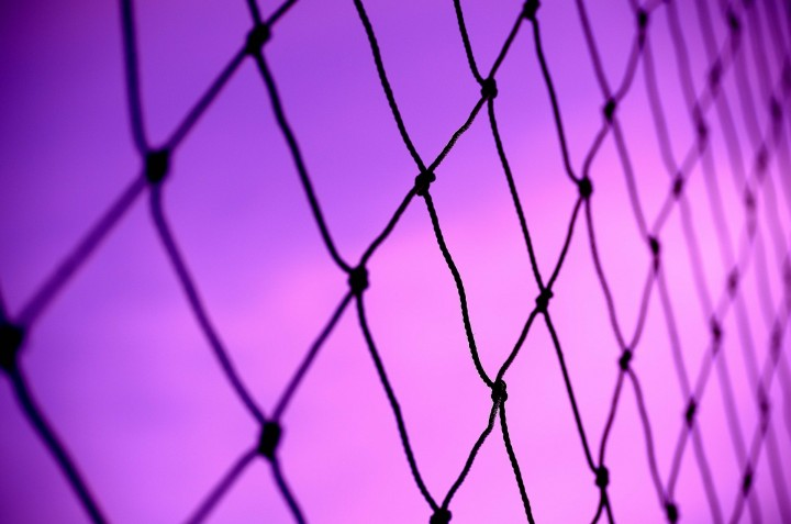 Black net against a purple sky.