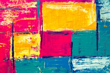 abstract art building blocks of pink yellow green and blue