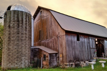 An old barn and silo.