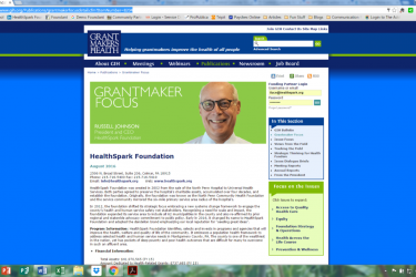 Screen shot of a webpage featuring a news letter and head shot of a smiling Caucasian man.