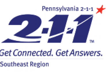 "Logo that reads, ""Pennsylvania 2-1-1 Get Connected. Get Answers. Southeast region."""
