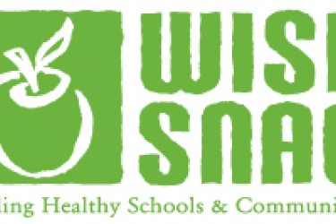 "Graphic logo of an apple with the words, ""Wise snack. Building healthy schools and communities."""