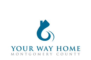 "Graphic logo of a house with a swooping path leading to it and the words, ""Your Way Home Montgomery County"" underneath."